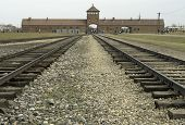 stock photo of auschwitz  - Railway lines running under the famous arched entrance to the Auschwitz II  - JPG
