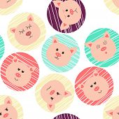 Seamless Pattern With Pigs. Nine Character Emotions: Happy, Sadness, Anger, Love, Surprise. Chinese  poster