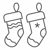 Christmas Socks Thin Line Icon. Two Stuffer Socks Vector Illustration Isolated On White. Christmas S poster