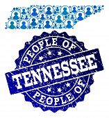 People Collage Of Blue Population Map Of Tennessee State And Scratched Stamp. Vector Seal With Scrat poster