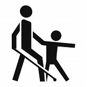 Kid Guide Blind Man Icon. Simple Illustration Of Kid Guide Blind Man Icon For Web Design Isolated On poster