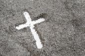 Christian Cross Or Crucifix Drawing In Ash, Dust Or Sand As Symbol Of Religion, Sacrifice, Redemtion poster