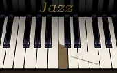 An Old Jazz Piano Keyboard Has A Broken Key From Aggressive Piano Playing. The Emblem On The Piano S poster
