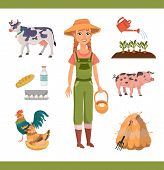 Cartoon Farm Clipart Collection With Cheerful Ginger Woman With Braids As Farm Worker, Farm Animals  poster