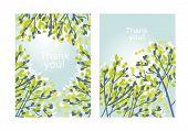 Modern Elegant Tender Spring Tree Branches Design Element. Light Green Sketch Style Leaves And Branc poster