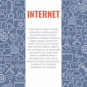Internet Line Icons Banner Design Concept With Thin Outline Art Icons. Internet Web Design Backgroun poster
