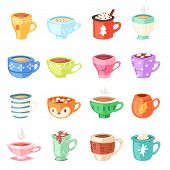 Cartoon Cup Vector Kids Mugs Hot Coffee Or Tea Cupful On Breakfast And Various Shapes Of Coffeecup I poster