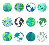 Earth Planet Vector Global World Universe And Worldwide Earthly Universal Globe Illustration Worldly poster