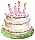 picture of birthday-cake  - a digitally illustrated birthday cake good for cards - JPG