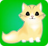 Kitten Sticker, Vector Cat, Cute Pet, Black Shiny Eyes, Sitting With A Tail, A Mammal On A Green Bac poster