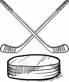 stock photo of offside  - doodle style hockey vector illustration with sticks and puck - JPG