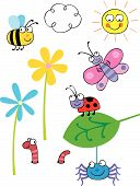 stock photo of creepy crawlies  - Cartoon vector bugs and insects grouped on different layers - JPG