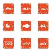 Motor Vehicles Icons Set. Grunge Set Of 9 Motor Vehicles Icons For Web Isolated On White Background poster