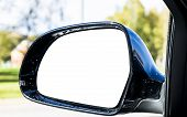 Blank Empty Screen Rearview Car Mirror. Blank Rear View Mirror With A Clipping Path. Empty Space For poster