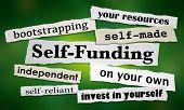 Self-Funding Newspaper Headlines New Business 3d Illustration poster