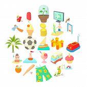 Carefree Life Icons Set. Cartoon Set Of 25 Carefree Life Icons For Web Isolated On White Background poster