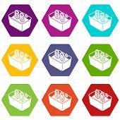 Hand Wash 60 Degrees Celsius Icons 9 Set Coloful Isolated On White For Web poster