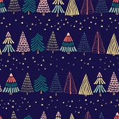 Modern Abstract Doodle Christmas Trees In A Row And Stars On A Dark Blue Background. Seamless Vector poster