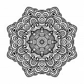 Round Zentangle For Coloring Book Pages, Mandala Design. Coloring Page With Mandala. Round Ornament  poster