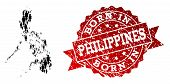 People Crowd Combination Of Black Population Map Of Philippines And Scratched Seal. Vector Red Seal  poster