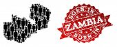 People Crowd Collage Of Black Population Map Of Zambia And Scratched Seal Stamp. Vector Red Watermar poster