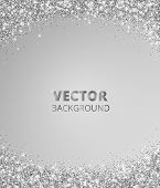 Sparkling Glitter Border, Frame. Falling Silver Dust On Gray Background. Vector Glittering Decoratio poster