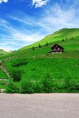 Cute house in Austrian mountains. Summer time