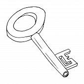 Old Key. Key Icon. Vector Illustration Of A Big Key. Hand Drawn Old Key. poster