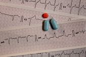 Medications In The Form Of Tablets For Oral Use On An Electrocardiogram Background. Heartbeat Repres poster