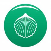 Beautiful Shell Icon. Simple Illustration Of Beautiful Shell Vector Icon For Any Design Green poster