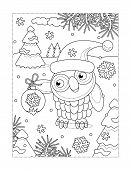 Winter Holidays, New Year Or Christmas Joy Themed Coloring Page With Owl Wearing Santa Cap And Holdi poster