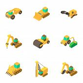 Instrument Of Road Icons Set. Isometric Set Of 9 Instrument Of Road Vector Icons For Web Isolated On poster