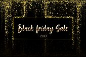 Black Friday Sale Gold Glitter Confetti Texture On A Black Background. Golden Christmas Banner. Gold poster