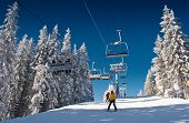 picture of winter sport  - winter mountain landscape with skiing slope - JPG