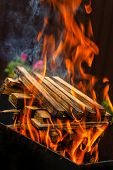 Burning Firewood. Preparation Of Firewood For The Brazier. Barbecue With Burning Wood On The Backgro poster