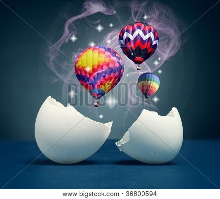 Balloons take off from the broken eggs.