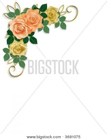 Roses Template Wedding Invitation Yellow And Peach