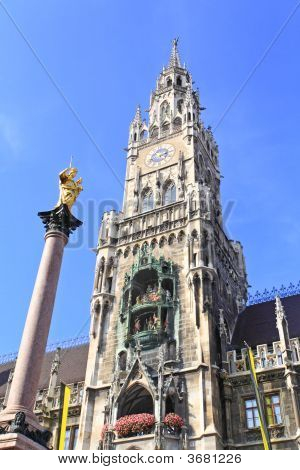 The Marienplatz And City Hall In Center Munich