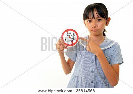 Girl with a mark of non smoking