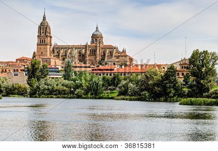 Tormes River and Cathedral of Salamanca, Spain