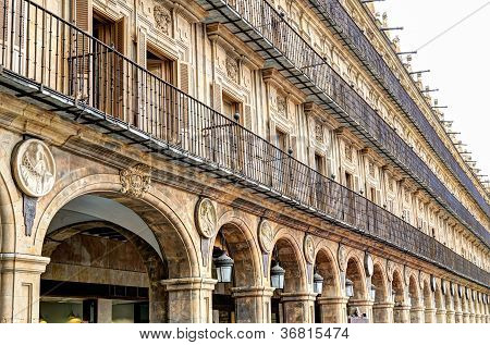 surrounding buildings at the Plaza Mayor, Salamanca, Spain