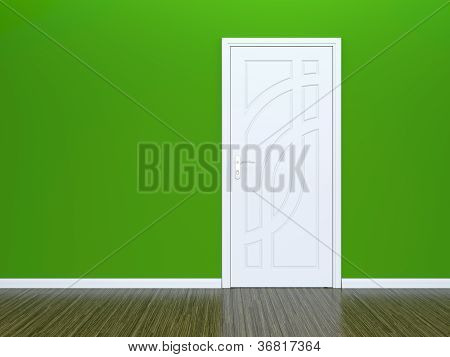 White Door And Green Wall