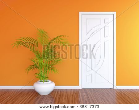 White Door And Orange Wall