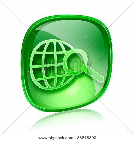 Globe And Magnifier Icon Green Glass, Isolated On White Background.
