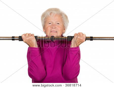 Elderly Woman Doing A Workout