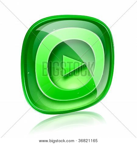 Play Icon Button Green Glass, Isolated On White Background.
