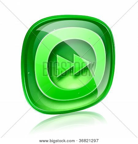 Forward Icon Green Glass, Isolated On White Background.