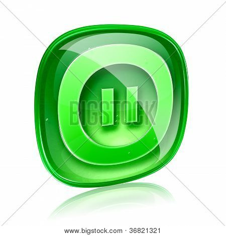 Pause Icon Green Glass, Isolated On White Background.
