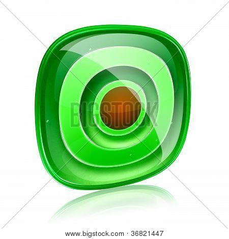 Record Icon Green Glass, Isolated On White Background.