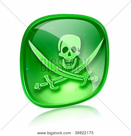 Pirate Icon Green Glass, Isolated On White Background.